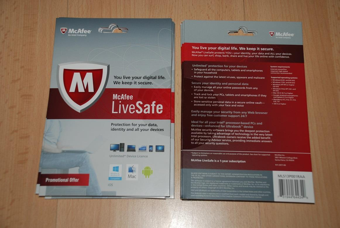 Brand New McAfee Livesafe Antivirus (Unlimited PCs)